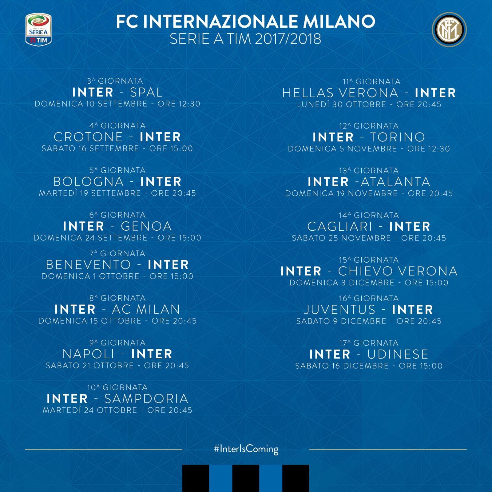 Calendario Serie A 16 Ottobre.Serie A Il Calendario Nerazzurro Fino Alla 17 Giornata